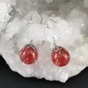 Boucles d'oreilles bulles de résine algue rouge