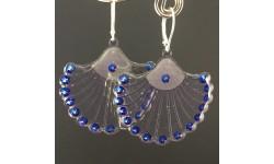 Boucles d'oreilles «Zoé» argentées strass bleus