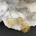 Parure feuille d'or en suspension, boucles d'oreilles et collier en gold filled.