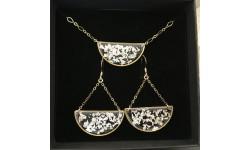 Parure demi-lunes fragments de feuille d'argent en suspension, apprêts gold filled