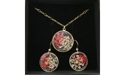 Parure fleurs rouges et blanches de carotte sauvage, collier et boucles d'oreilles résine et gold filled.