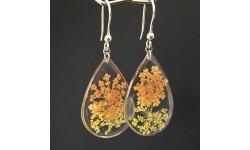 Boucles d'oreilles fleurs jaunes et oranges en suspension gouttes argentées