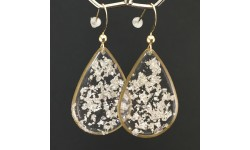 Boucles d'oreilles fragments de feuille d'argent en suspension gouttes dorées