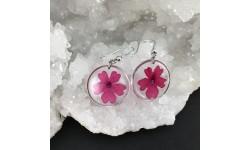 Boucles d'oreilles fleurs de verveine fuchsia en suspension cercles argentés