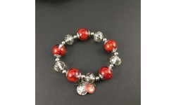 Bracelet graines rouges