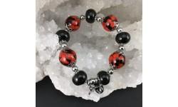 Bracelet rouge et noir résine et graines de liane réglisse