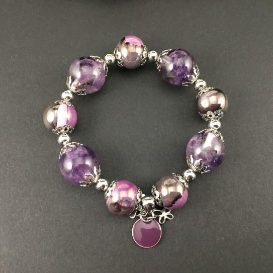 Bracelet perles rondes en améthyste et résine