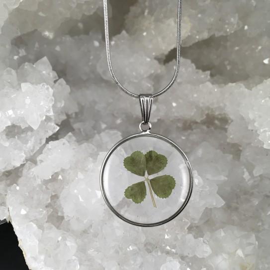 Pendentif trèfle à quatre feuilles en suspension cercle argenté