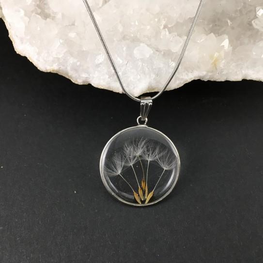 Pendentif graines de pissenlit en suspension cercle argenté