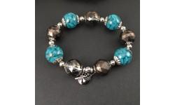 Bracelet perles rondes en résine inclusion de turquoise