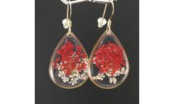 Boucles d'oreilles fleurs rouges et blanches petites gouttes dorées