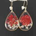 Boucles d'oreilles dorées petites gouttes résine et fleurs rouges et blanches de carotte sauvage
