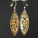 Boucles d'oreilles fragments de feuille d'or en suspension navettes dorées