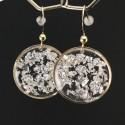 Boucles d'oreilles fragments de feuille d'argent en suspension cercles dorés