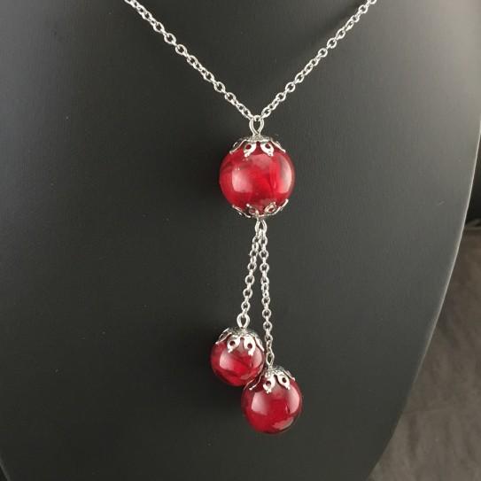 Collier cascade bulles de pétales de rose rouge