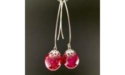 Boucles d'oreilles gomphréna fuchsia crochets acier