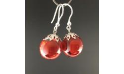 Boucles d'oreilles graines rouges 16mm crochets argent