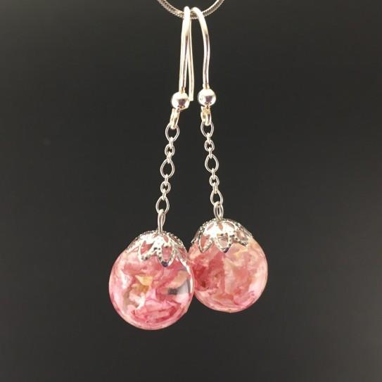 Boucles d'oreilles delphinium rose 14mm pendules
