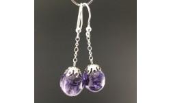 Boucles d'oreilles delphinium bleu 14mm pendules