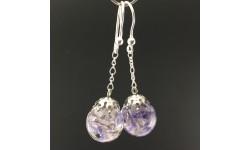 Boucles d'oreilles delphinium bleu clair 14mm pendules