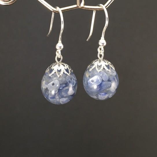 Boucles d'oreilles cyanite bleue 14mm crochets argent