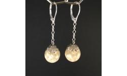 Boucles d'oreilles perles fines 12mm pendules