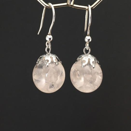 Boucles d'oreilles quartz rose crochets argent