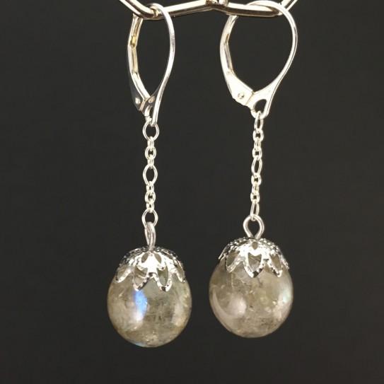 Boucles d'oreilles labradorite 12mm pendules