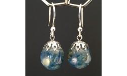 Boucles d'oreilles cyanite bleue canard 14mm crochet argent