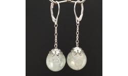 Boucles d'oreilles aigue-marine bleue 14mm pendules
