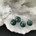 Boucles d'oreilles malachite, bulles de résine inclusion de pierre fine de malachite