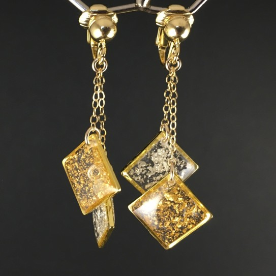 Boucles d'oreilles paire d'as carrés feuille d'or clips