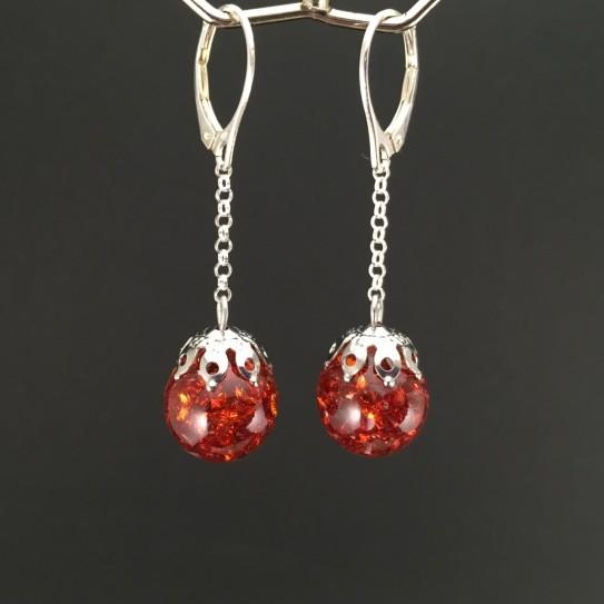 Boucles d'oreille bulles de zircons rouges