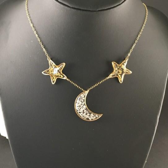 Collier ras de cou lune et étoiles dorées, feuille d'or et feuille d'or blanc