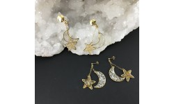 Boucles d'oreilles lune et étoile feuille d'or clips