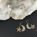 Boucles d'oreilles dorées lune et étoile, feuille d'or et feuille d'or blanc