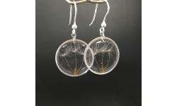Boucles d'oreilles argentées 22mm aigrettes de pissenlit résine crochets argent 925