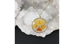 Collier doré pensée orange