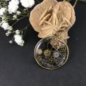 Pendentif steampunk engrenages de montre en suspension cercle doré