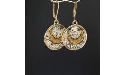 Boucles d'oreilles cercle stylisé doré inclusion feuille d'or et feuille d'argent