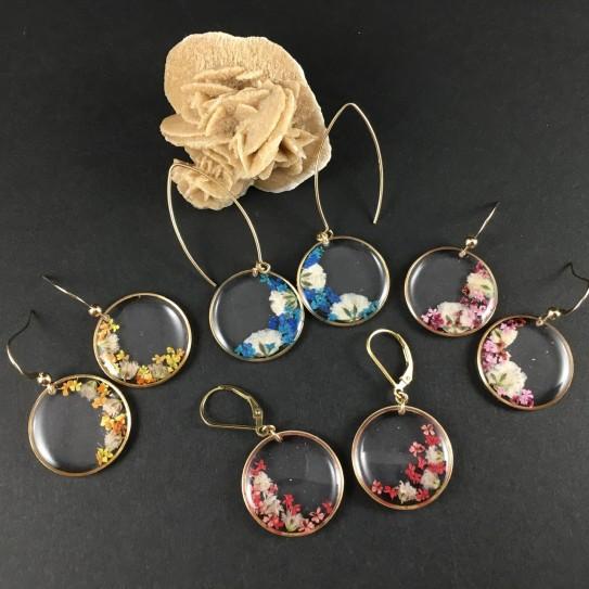 Boucles d'oreilles dorées, rondes inclusion petites fleurs gypsophile et carotte sauvage