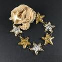 Bracelet fin étoiles dorées, feuille d'or et feuille d'argent