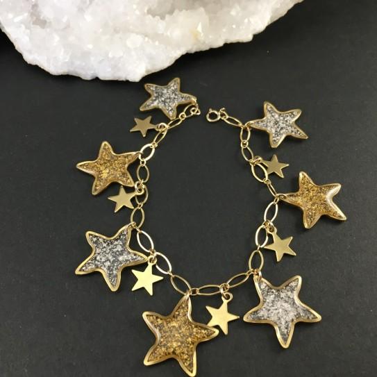 Bracelet doré à breloques, étoiles dorées, feuille d'or et feuille d'argent
