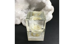 Presse-papiers cubique rose blanche