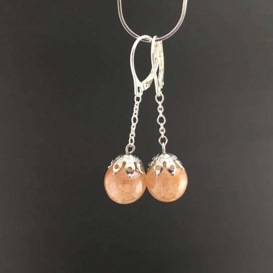 Boucles d'oreilles pierre de lune orangée 12mm pendules