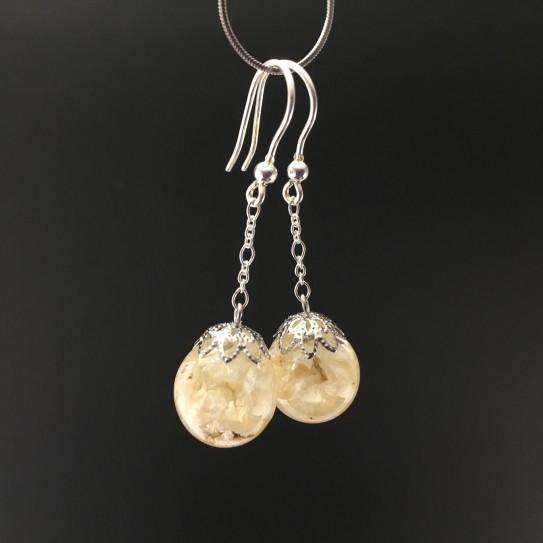 Boucles d'oreilles delphinium blanc 14mm pendules